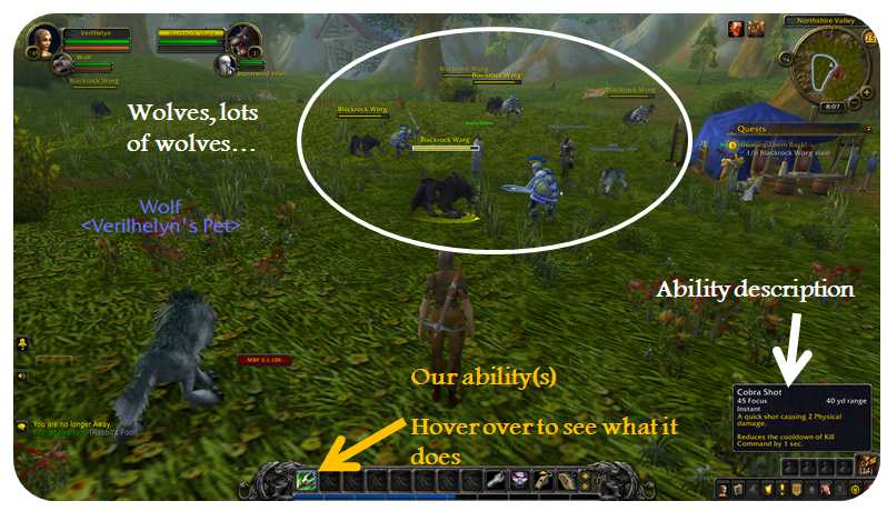 Player hovering over spell name to see description of ability