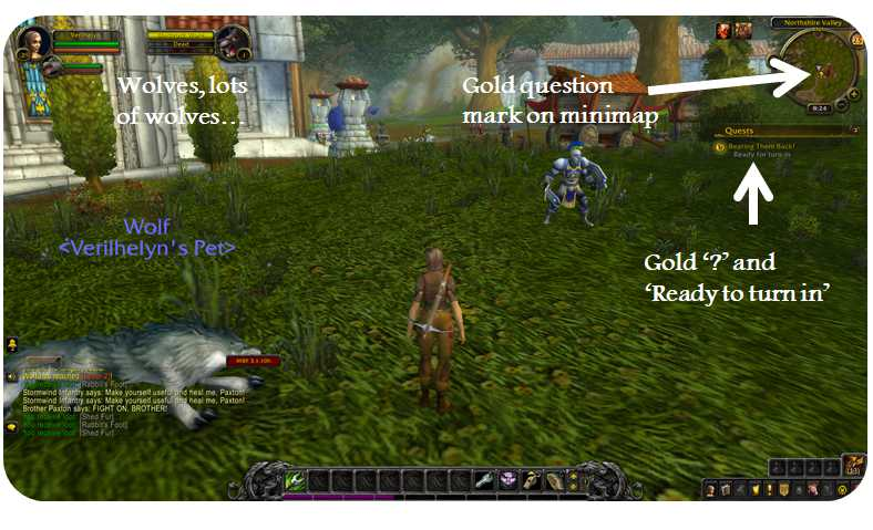 A player returning to turn in a quest