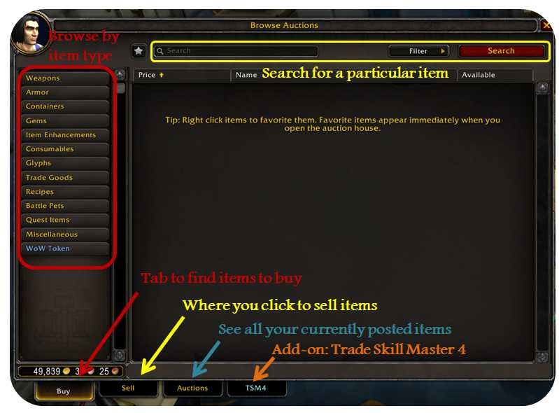 Auction house interface in World of Warcraft