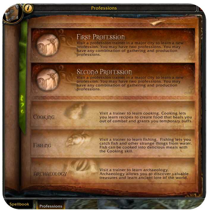 Screenshot of professions screen in World of Warcraft (WoW)