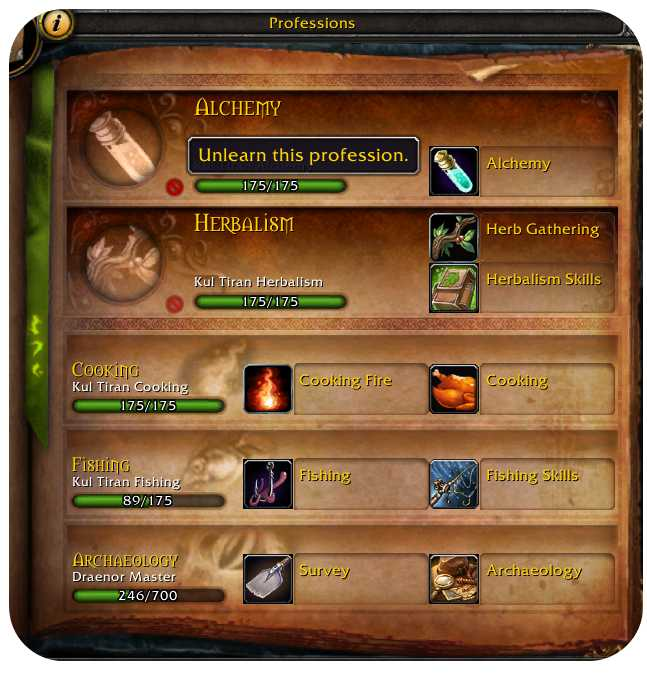 Screenshot showing professions window with option to unlearn a profession.