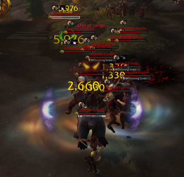 Player fighting a crowd of enemies