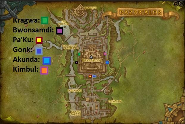 Image of the location of each loa shrine