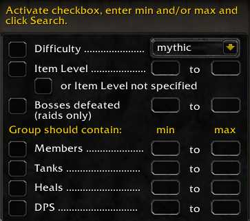 Checkbox filters in Premade Groups Filter addOn