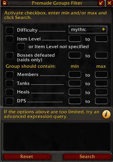 Filters in Premade Groups Filter addOn