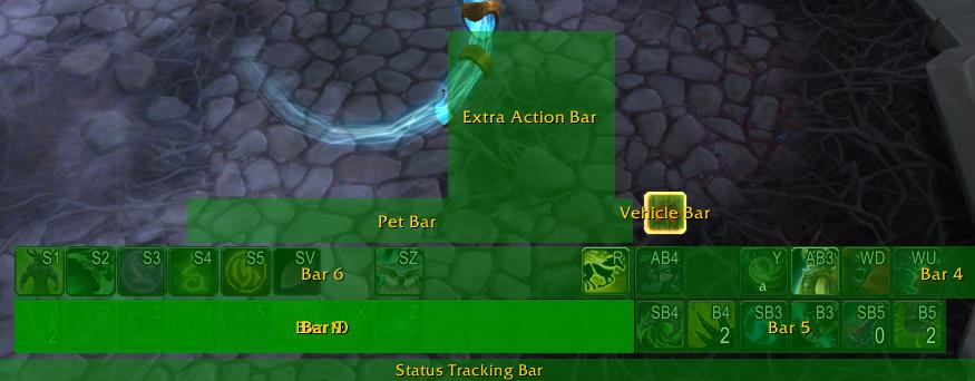 Screenshot of action bars glowing in Bartender WoW addon