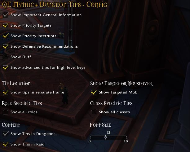 QE dungeon tips options window in World of Warcraft