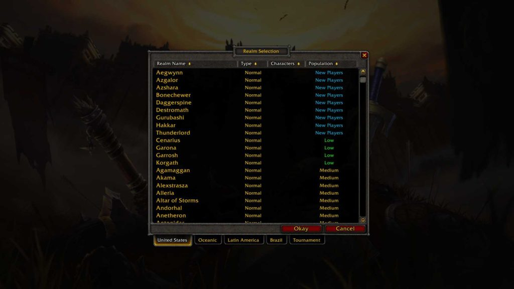 Realm selection window in World of Warcraft