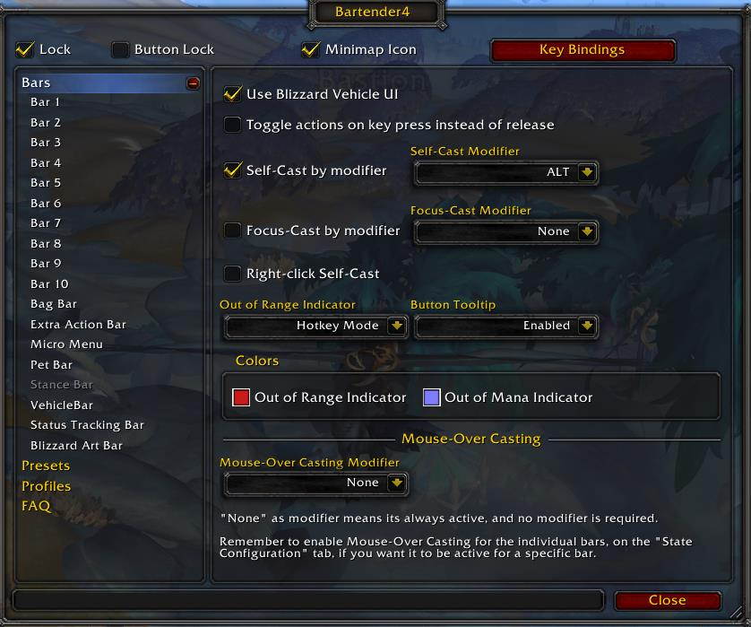 Settings window for Bartender4 action bar WoW addon