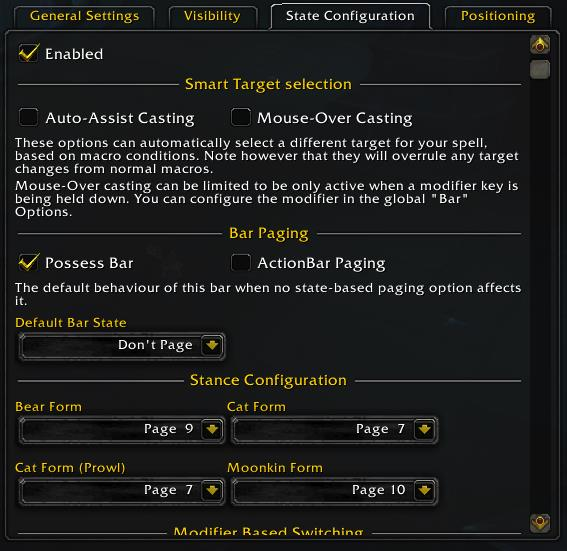 Screenshot of state configuration settings tab in WoW addon bartender