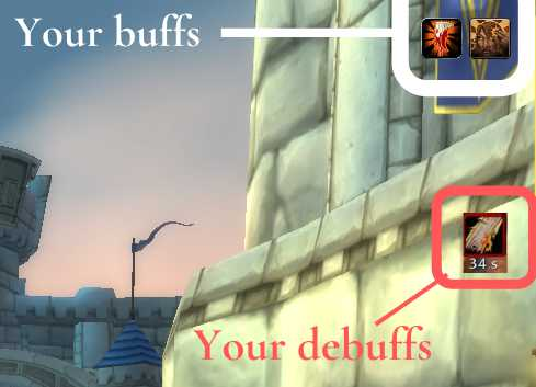 Location of buff and debuffs in World of Warcraft User interface