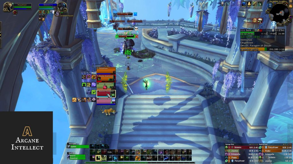 Screenshot of healer casting spells on group in mythic plus