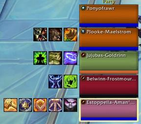 Screenshot of OmniCD addon; great for a healer in mythic plus