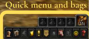 Bags and quick menu in World of Warcraft