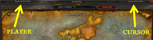 Screenshot of WoW world map with coordinates from TomTom addon