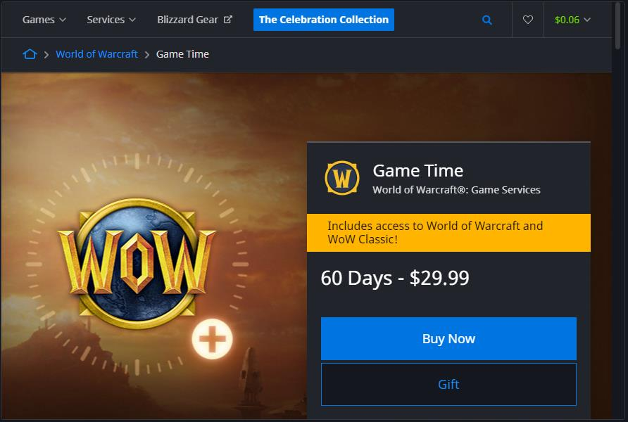 Screenshot of Blizzard shop where you can buy 60 days of game time at a cost of $29.99.