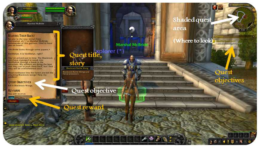 Quest acceptance screen and quest log in World of Warcraft