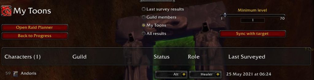 Screenshot of my druid status of alt and role of healer