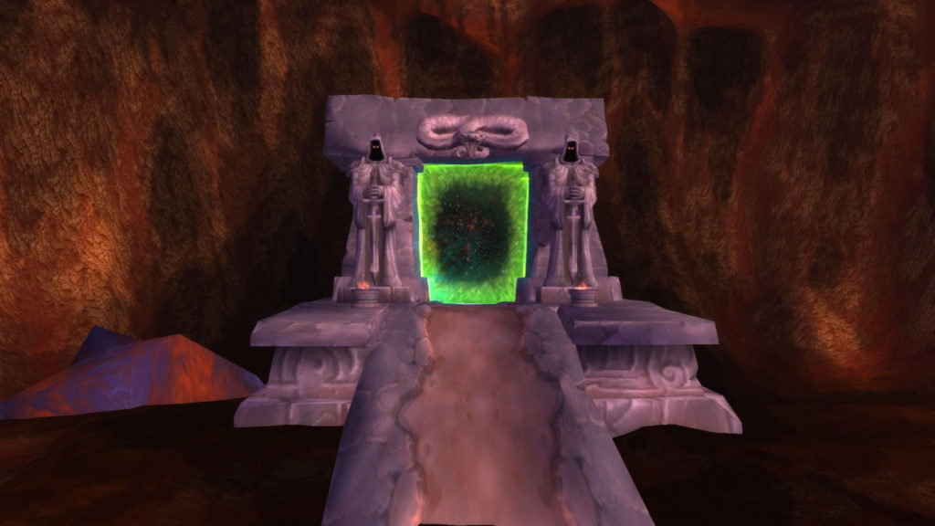 The Dark Portal in World of Warcraft. A green glowing entrance to Outland.