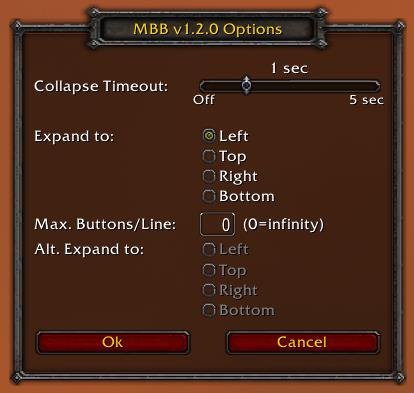 Screenshot of MBB options window in World of Warcraft