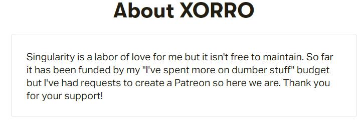 Screenshot of Patreon about box for Singularity addon manager