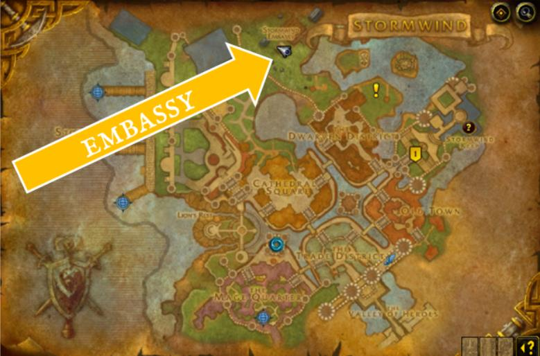 Map of Stormwind city and arrow pointing to Embassy location in the north.