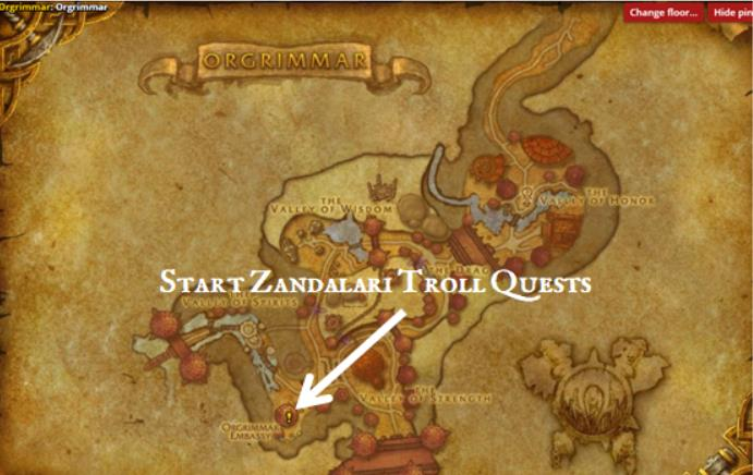 Map of Orgrimmar in World of Warcraft showing the location of the embassy
