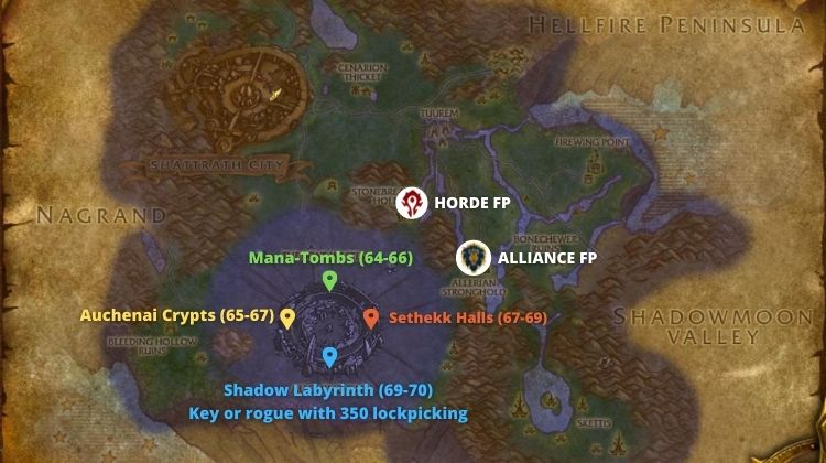 Map of Terokkar Forest in WoW Burning Crusade.
