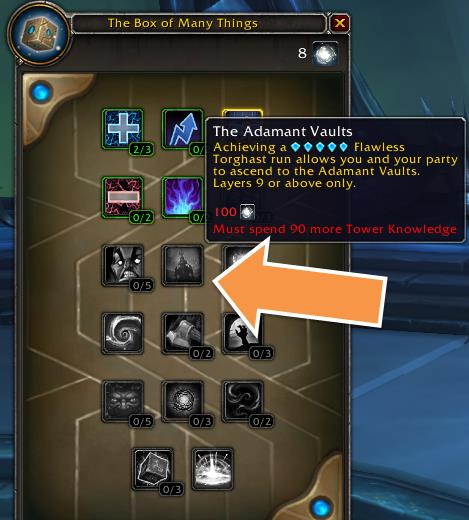 Screenshot of the Box of Many Things Torghast talent system in patch 9.1.
