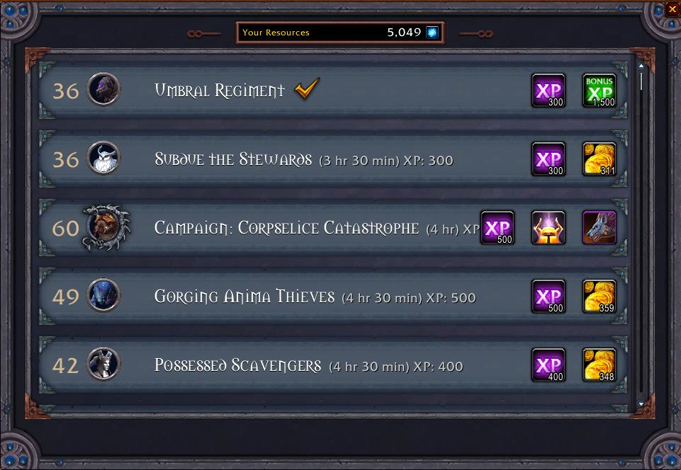Screenshot of CovenantMissionHelper addon
