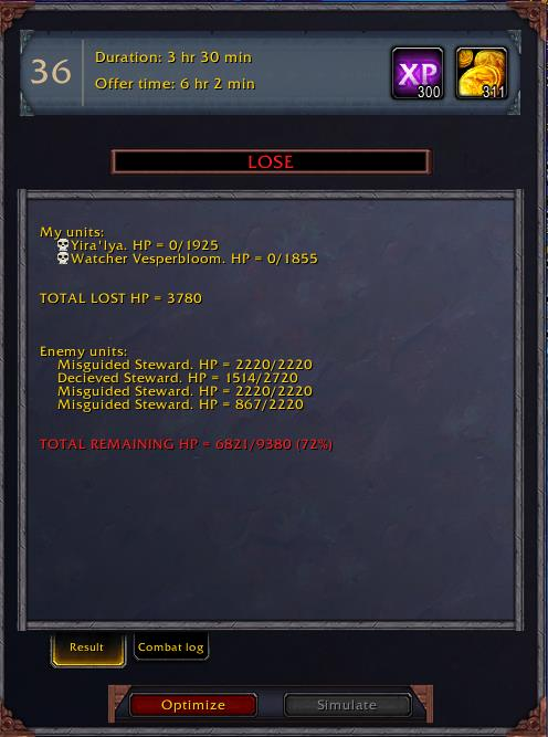 Screenshot of CovenantMissionHelper addon real time predictions