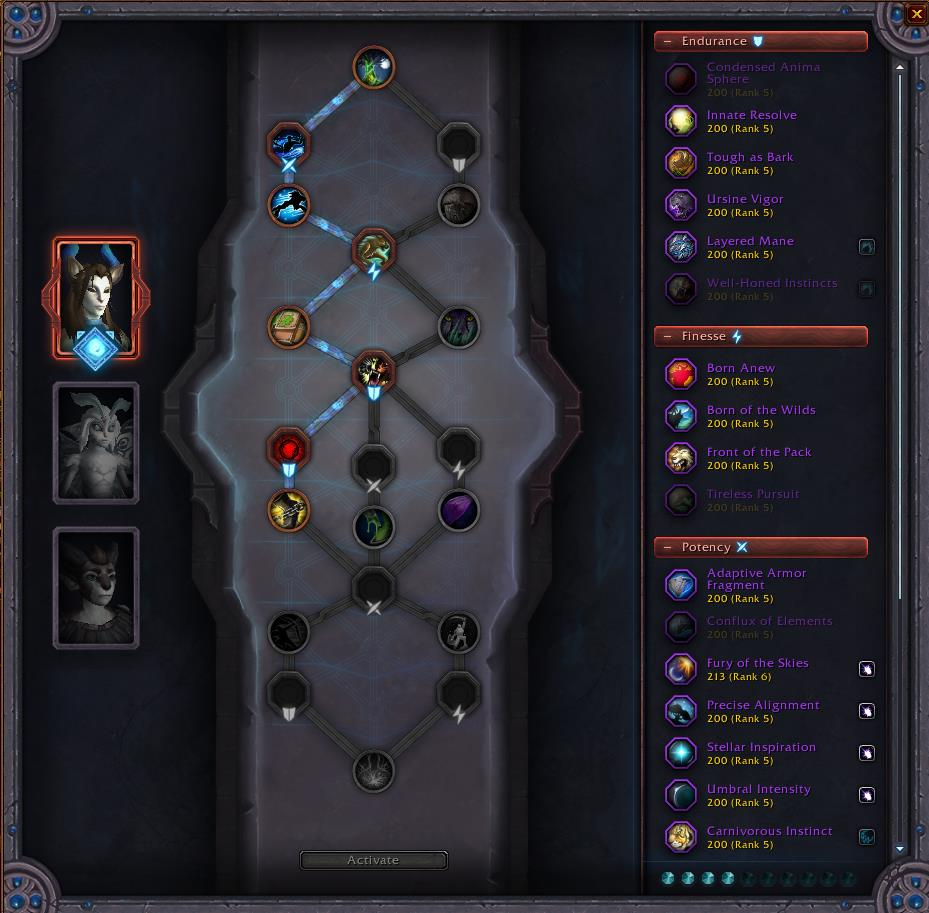 Screenshot of the Forge of Bonds conduit sockets in WoW Shadowlands.