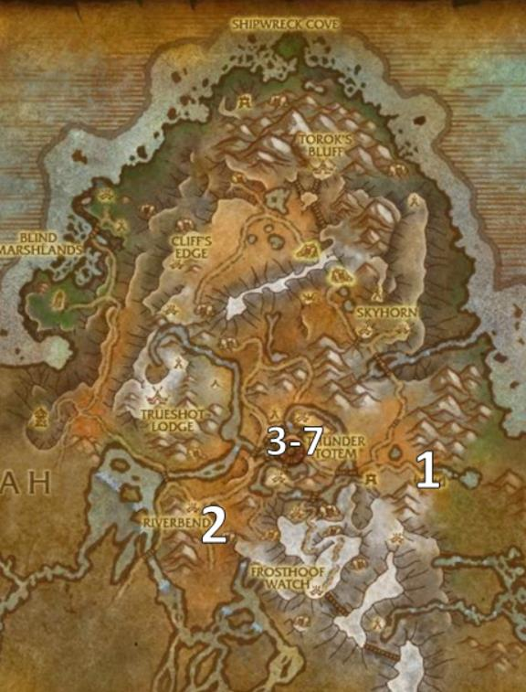 Map of Highmountain quest objective in World of Warcraft.