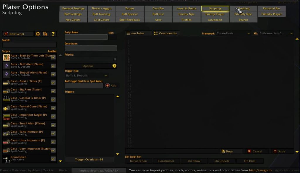 Screenshot of plater addon options in WoW.