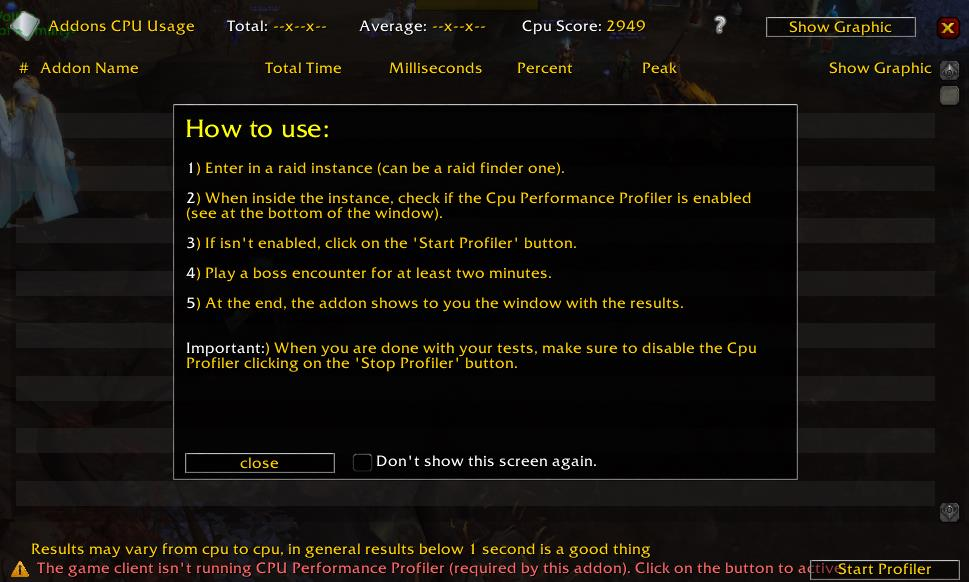 Addon steps from Addons Cpu Usage WoW Addon