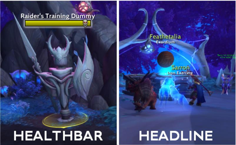 Illustration of the difference between healthbars and headlines in Threat Plates