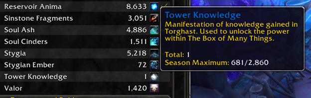 Screenshot of tower knowledge on currency tab in World of Warcraft