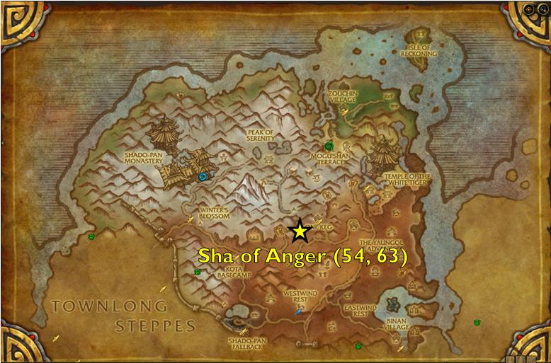 Map of Sha of Anger spawn location