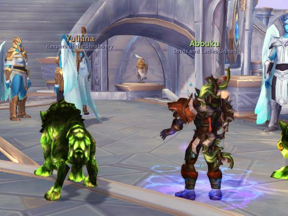 Screenshot of players in World of Warcraft with Threat Plates headline view active.