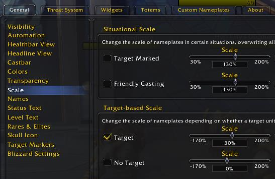 Threat Plates options for changing target scale