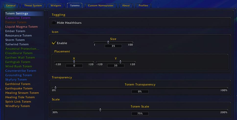 Threat Plates options for totem settings