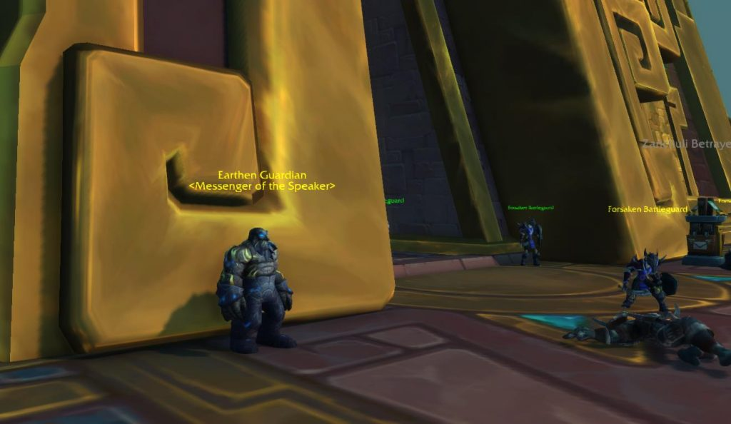 Screenshot of Earthen Guardian who offers quest to unlock heart of azeroth necklace.