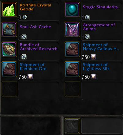 Screenshot of Ko'tul and items offered for Attendant's Token of Merit