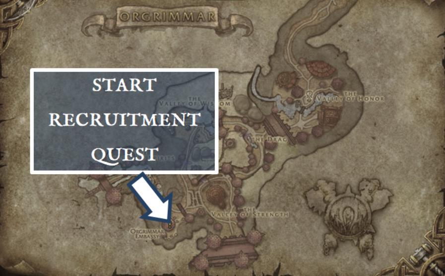 Screenshot of Orgrimmar embassy where you can begin the Mag'har Orc allied race recruitment quest.